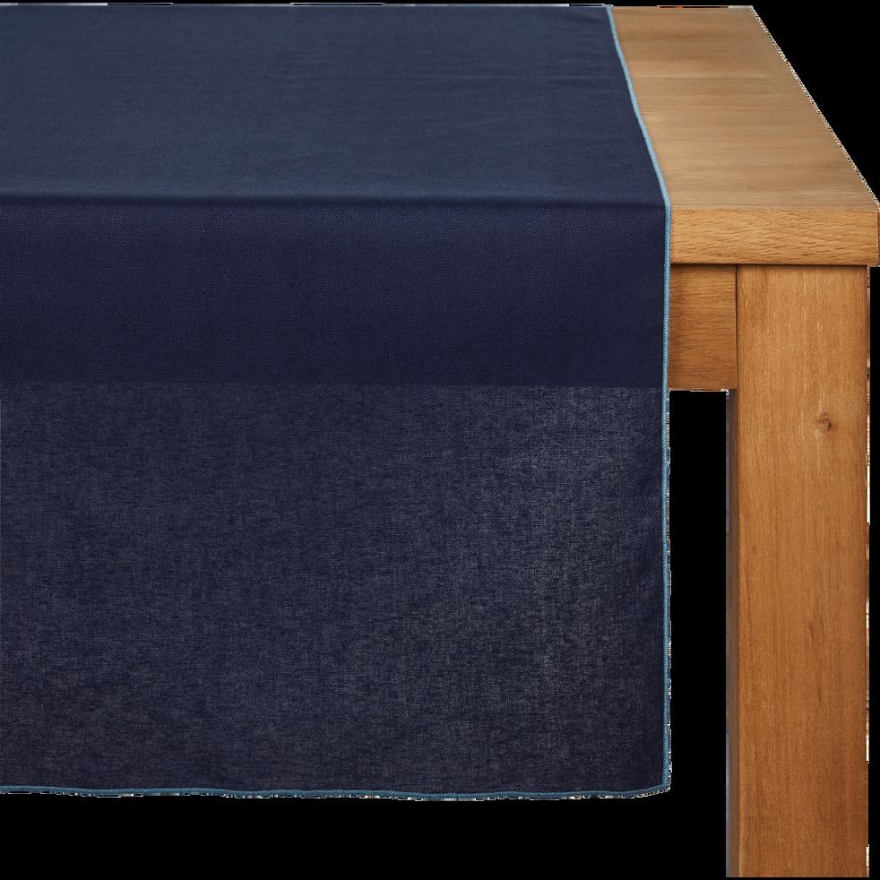 Chemin de table en lin et coton bleu myrte 50x150cm-MILA