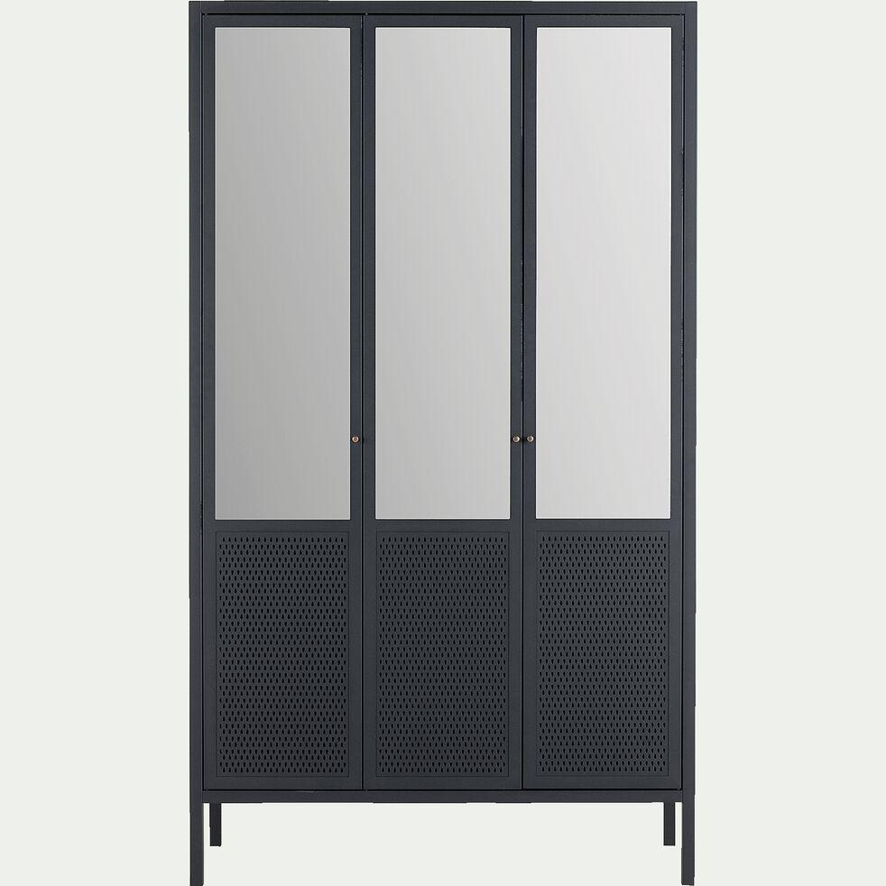 Armoire 3 Portes Avec Miroir En Acier Noir Serra Armoire Alinea