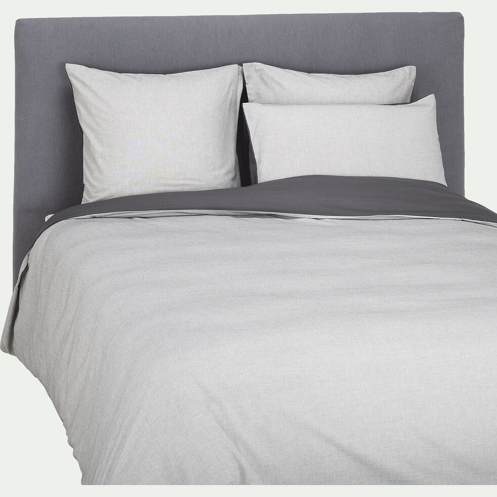Lot de 2 taies d'oreiller en coton chambray - gris 50x70cm-CHAMBRAY