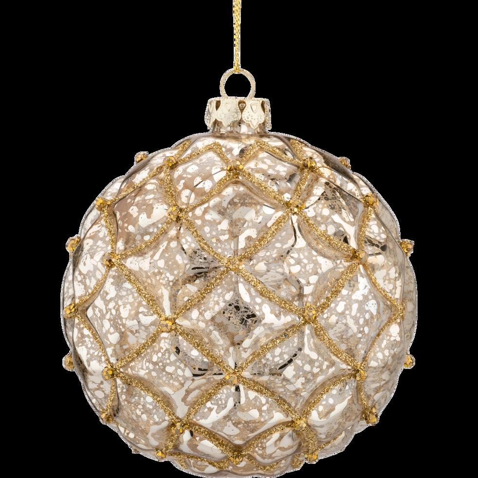Boule de Noël en verre doré D10cm-DOUIS