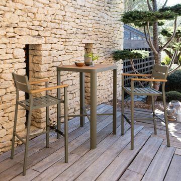 Ensemble table haute (2 places) et chaise de bar en métal-ALEP