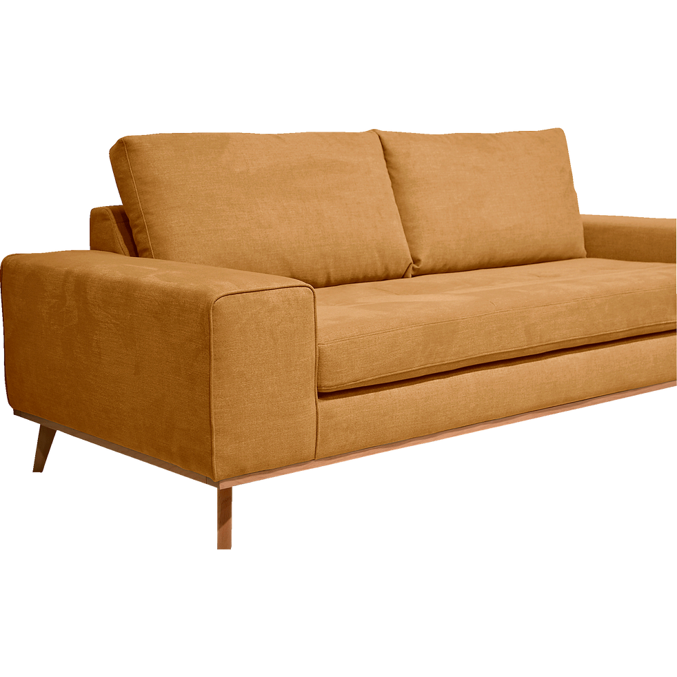 canap 3 places fixe en tissu jaune picabia canap s. Black Bedroom Furniture Sets. Home Design Ideas