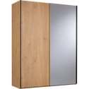 Armoire 2 portes coulissantes effet chêne clair-GASPARD