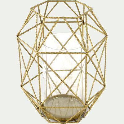 Photophore en métal filaire coloris doré H30.5cm-TAZIA