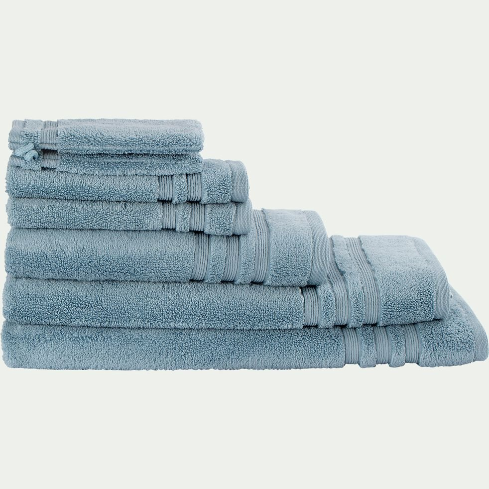 Serviette de bain bouclette en coton - bleu autan 50x100cm-Noun