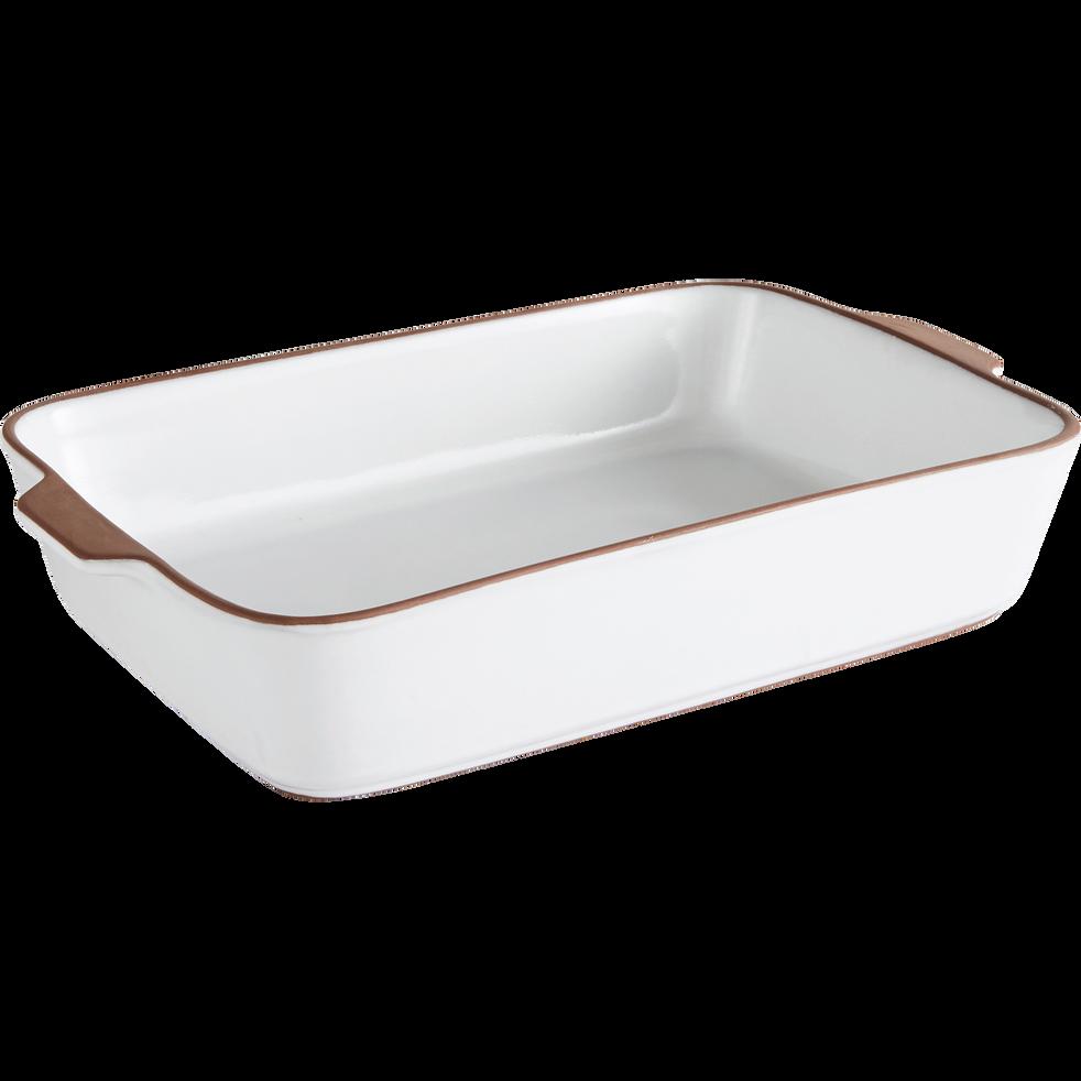 Plat à four blanc en grès 34x21cm-DARKSTONE