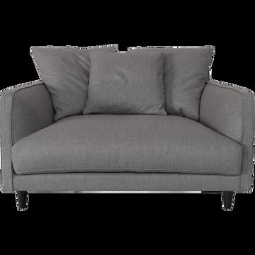 Canapé 1.5 places fixe en tissu gris borie-LENITA