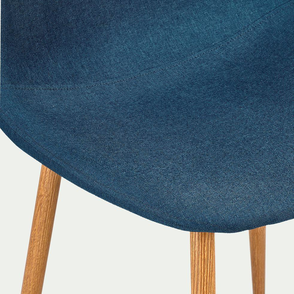 Chaise en acier impression bois - L53xH87xl44cm bleu figuerolles-LOANA