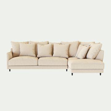 Canapé d'angle droit fixe en tissu joint - beige roucas-LENITA