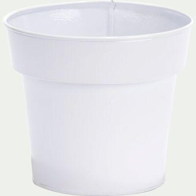 Cache-pot blanc en fer H11xD13cm-FLORA