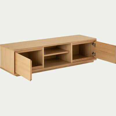 Meuble TV en bois 2 portes - naturel-AGOSTA