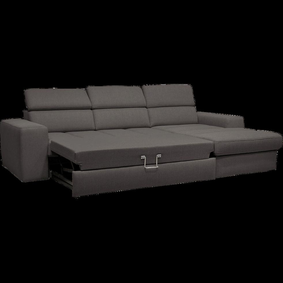 canap d 39 angle droit convertible en tissu anthracite. Black Bedroom Furniture Sets. Home Design Ideas