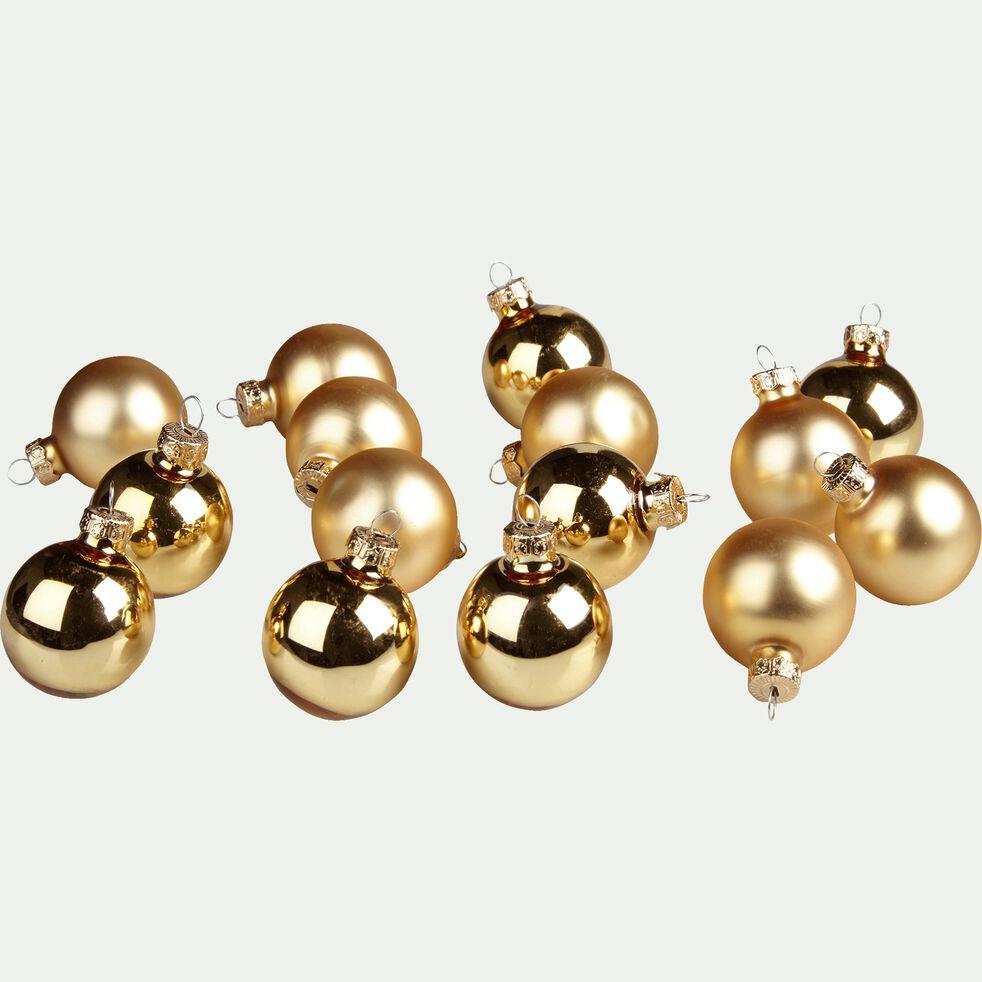 16 boules de Noël en verre doré D3.5cm-OLAN