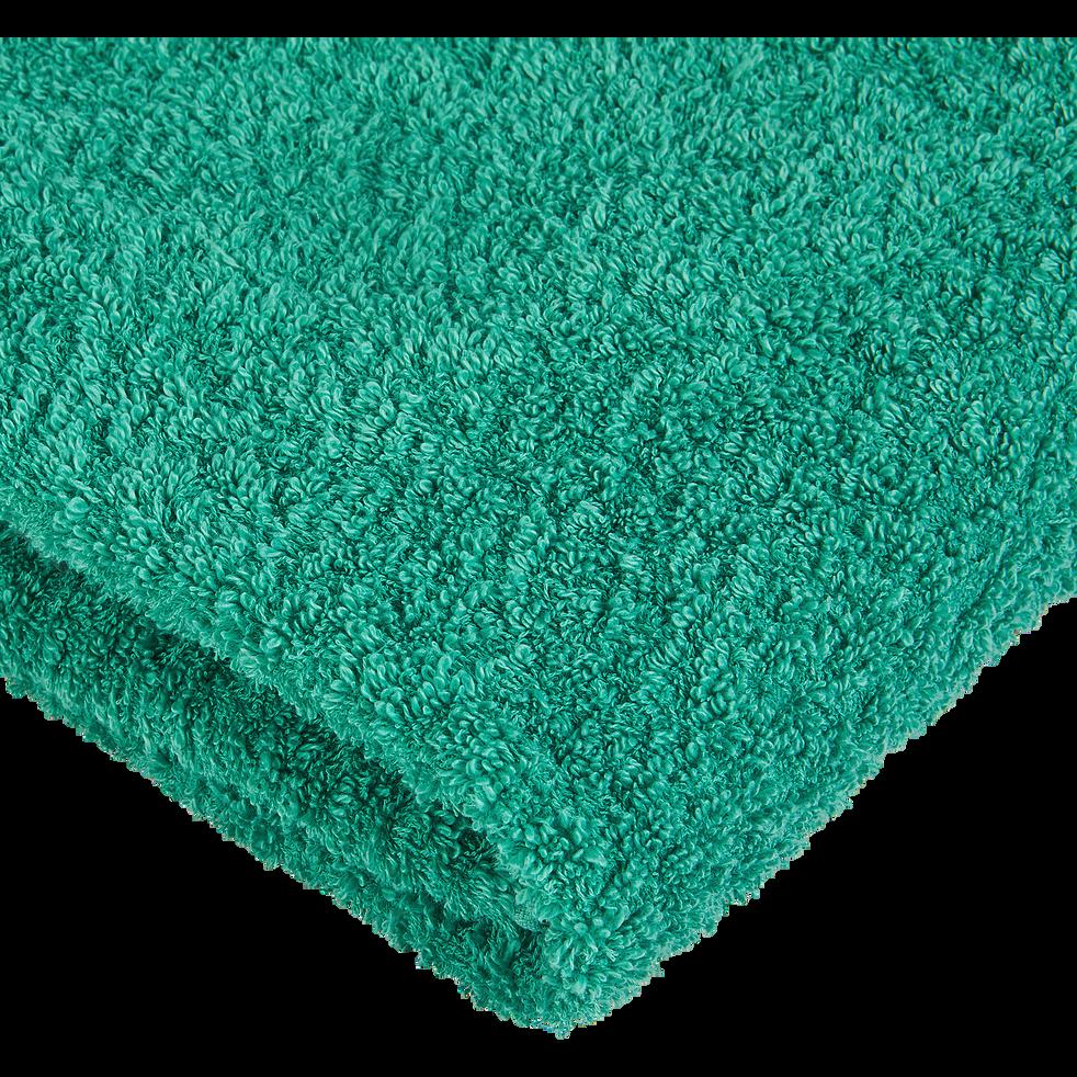 Drap de douche coton et lin 70X140cm vert menthe-ADONI