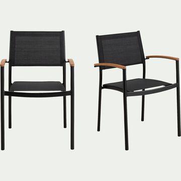 Chaise de jardin empilable avec accoudoirs en aluminium et plastique  - noir-TANOS