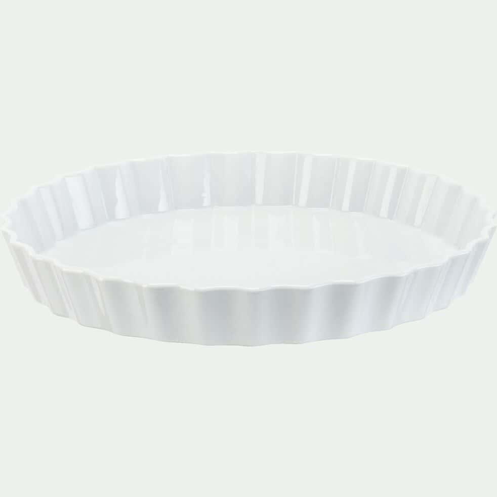 Plat rond en porcelaine D30cm - blanc-AZE