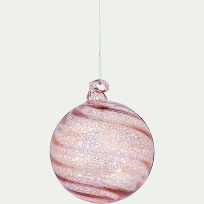 Boule de Noël en verre rose D9cm-PHI