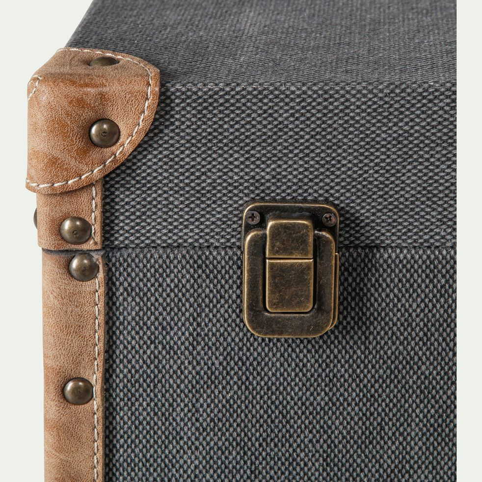 Malle de rangement en tissu - noir H25xL60cm-CARLONE