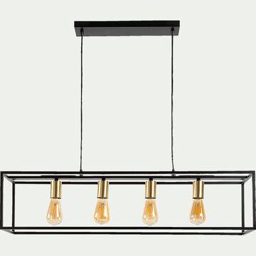 Suspension 4 lampes L92xl22cm - noir et or-ROBIN