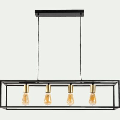 Suspension 4 lampes L92xl22cm - noir et or-ROBIN