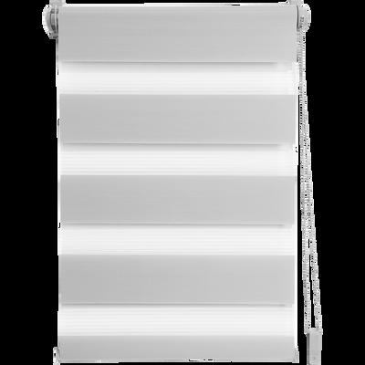 Store enrouleur tamisant gris clair 52x190cm-JOUR-NUIT