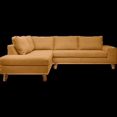Canapé d'angle fixe gauche en tissu jaune-PICABIA