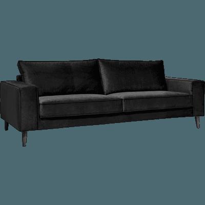 Canapé 4 places fixe en velours noir-California