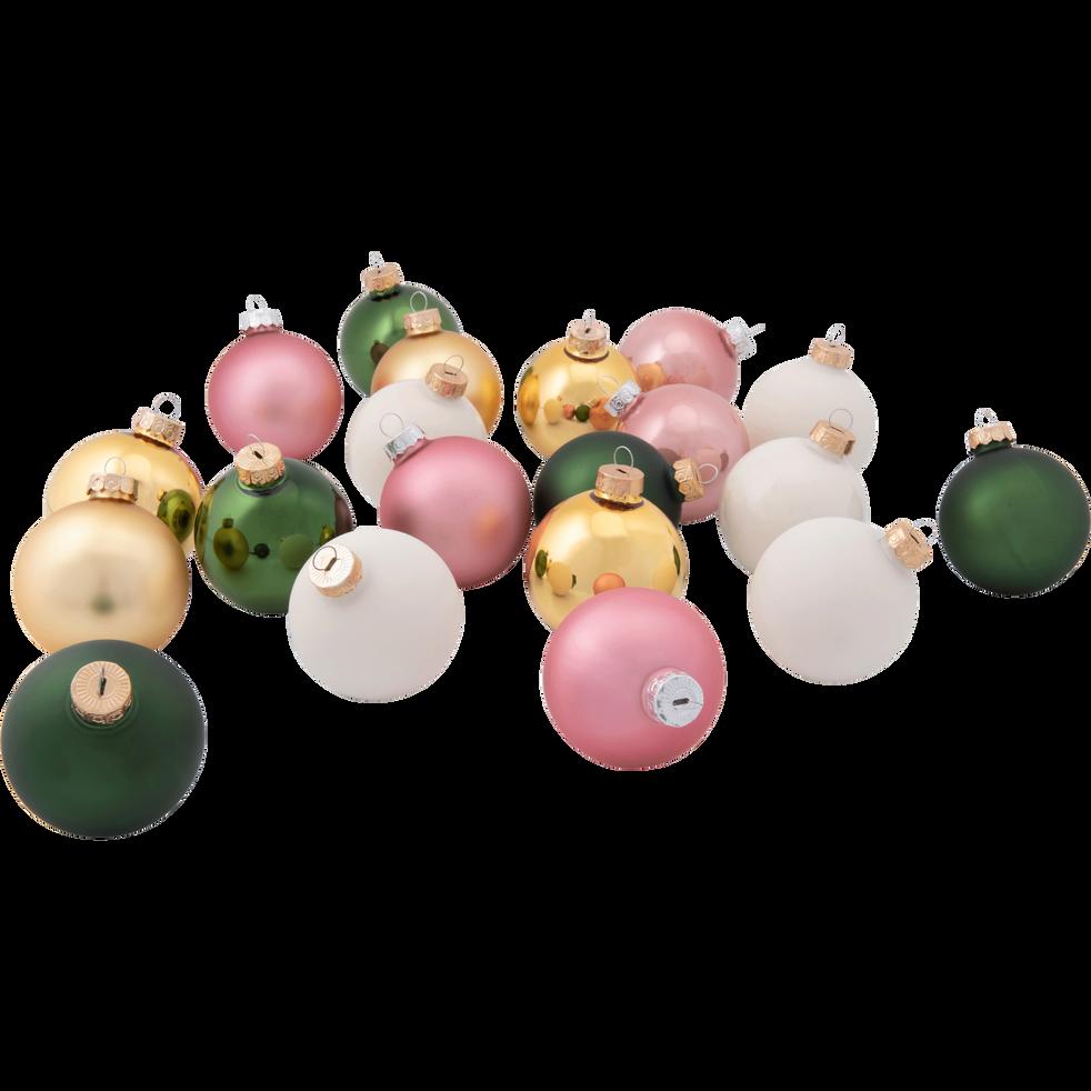 20 boules de Noël en verre rose, vert, dorée et blanc D6cm-DUA