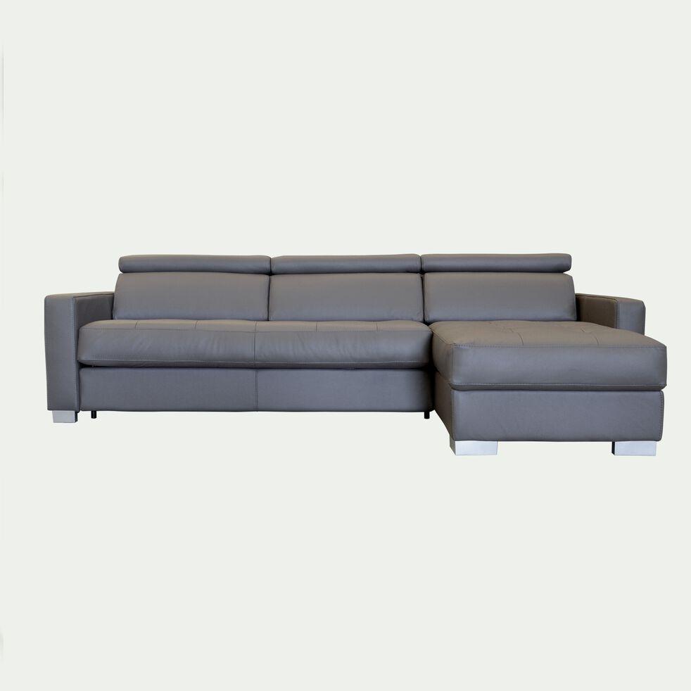 Canapé 4 places fixe en cuir avec angle réversible et accoudoir 15cm - taupe-MAURO