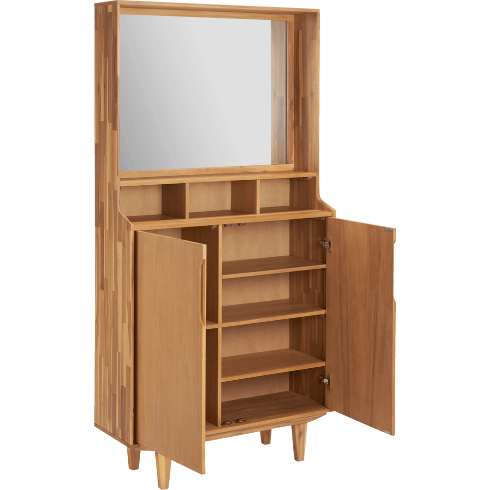 meuble d 39 entr e en acacia isac meubles chaussures alinea. Black Bedroom Furniture Sets. Home Design Ideas