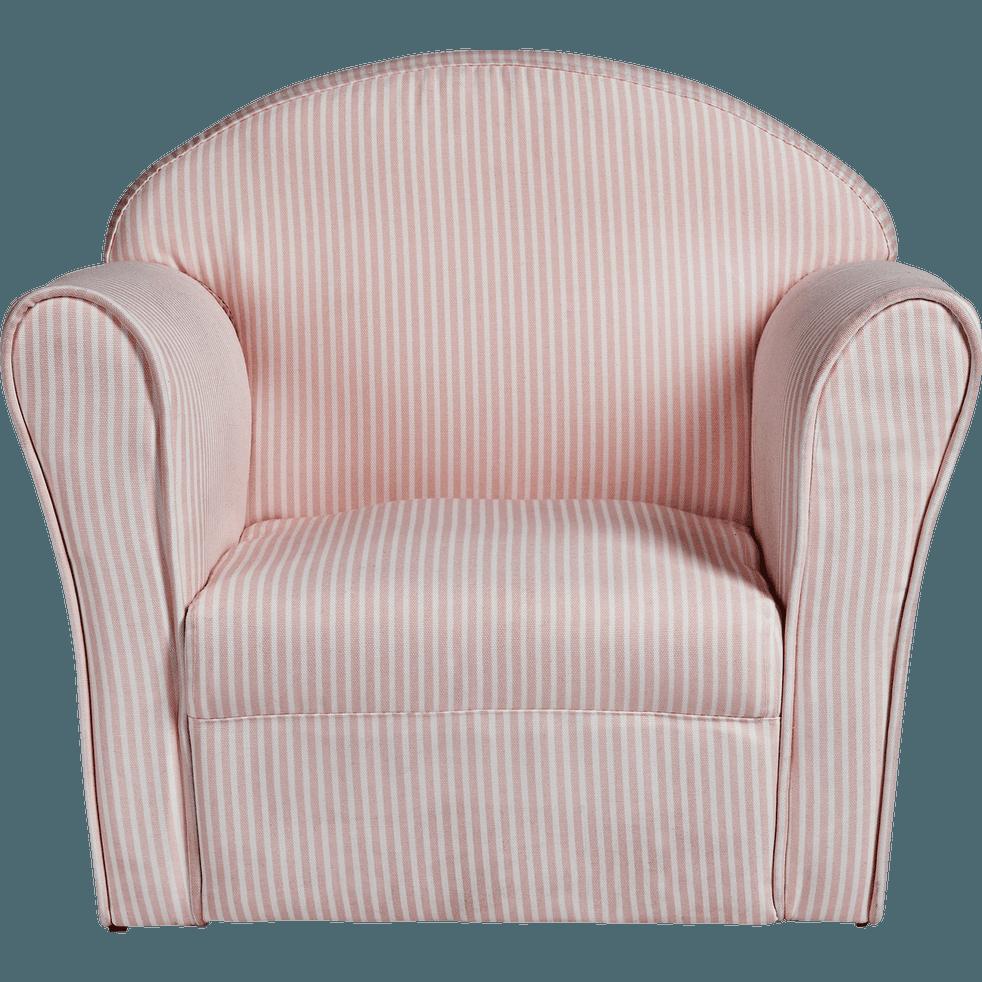 fauteuil club rose et blanc rayures pour enfant clubby. Black Bedroom Furniture Sets. Home Design Ideas