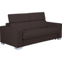 Canapé 3 places fixe en cuir de buffle marron-MAURO