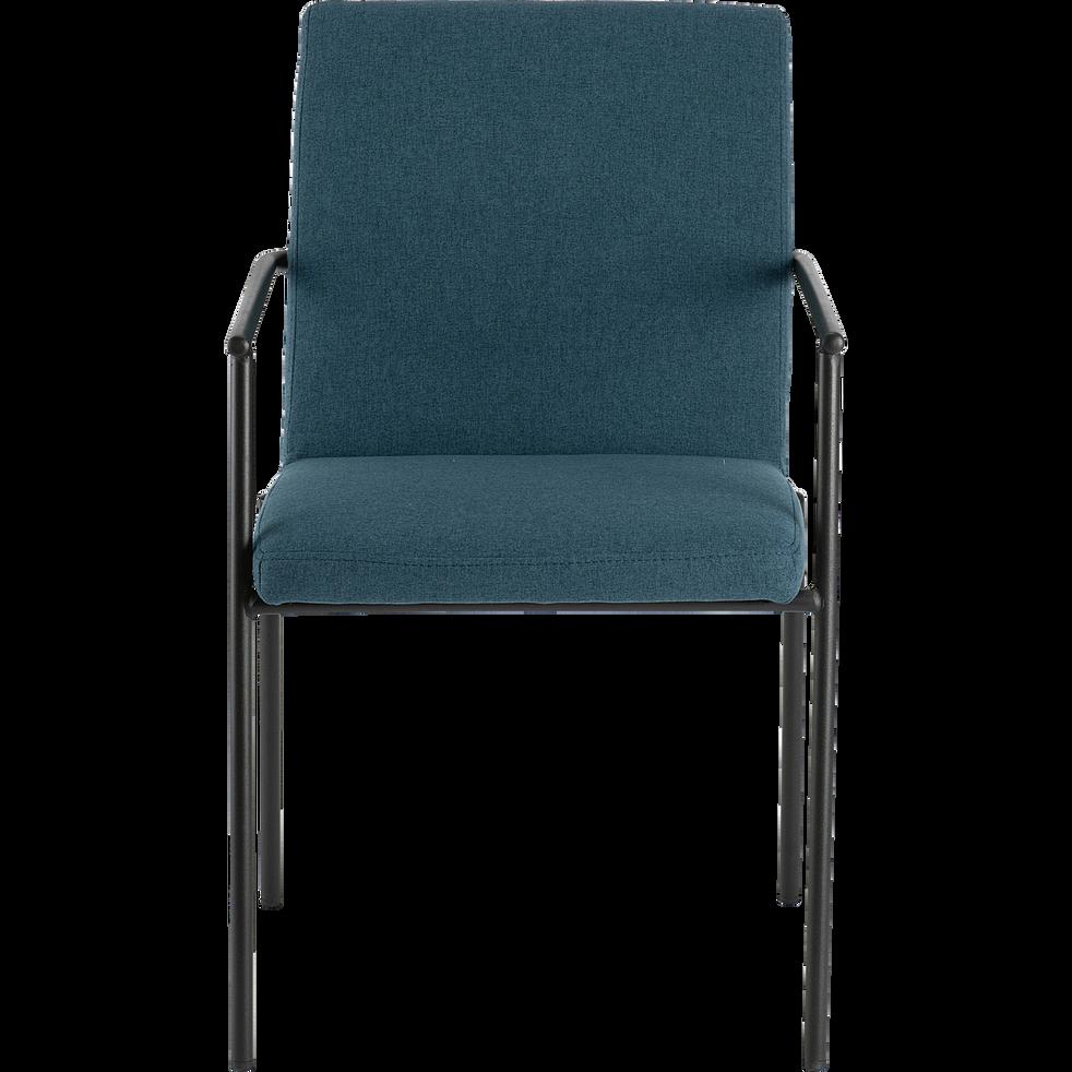 Chaise en tissu avec accoudoirs bleu figuerolles-JASPE