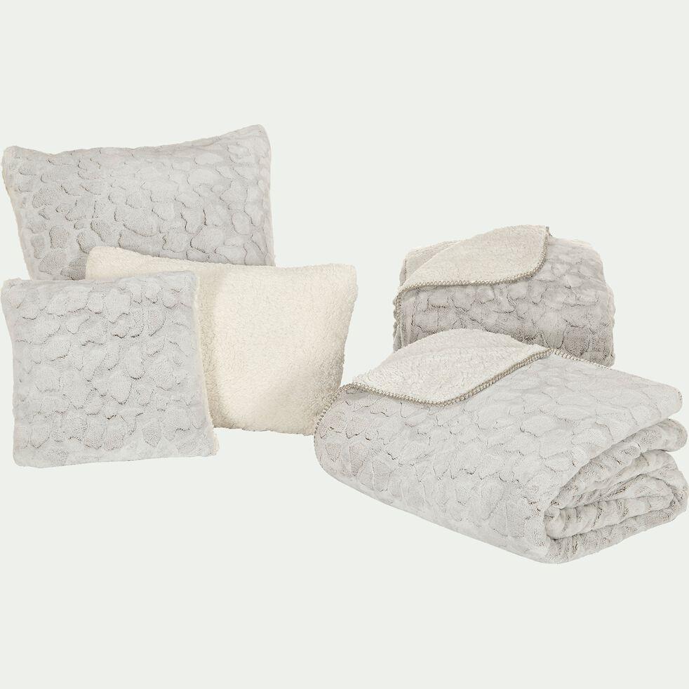 Coussin imitation fourrure en polyester - gris 40x60cm-Sofy