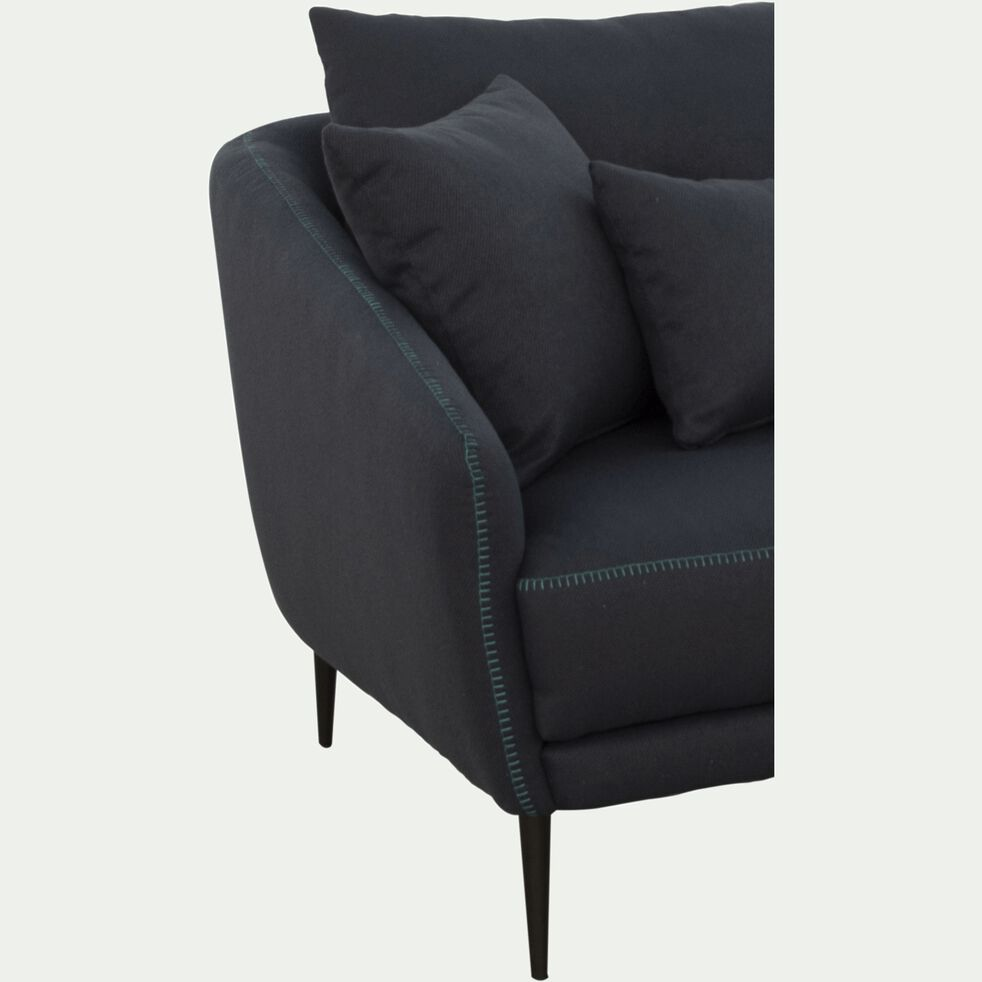 Canapé 2 places fixe en tissu - bleu myrte-DOME