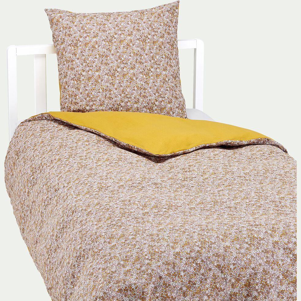 Housse de couette enfant motifs fleuris - jaune 140x200cm et 1 taie d'oreiller 63x63cm-Sigean