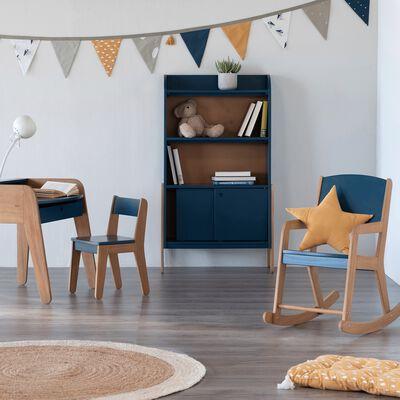 Bibliothèque en acacia pour enfant - bleu figuerolles-RAPHAEL