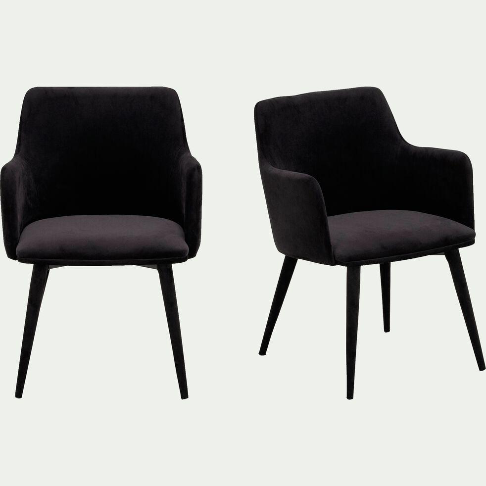 Chaise en tissu effet velours avec accoudoirs - noir-GINETTE