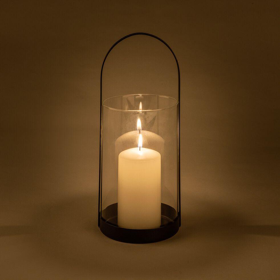 Lanterne en verre et fer - noir D12xH28cm-PASQUALE