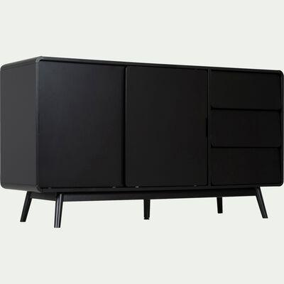 Buffet rétro noir 3 tiroirs et 2 portes coulissantes-AUBUN