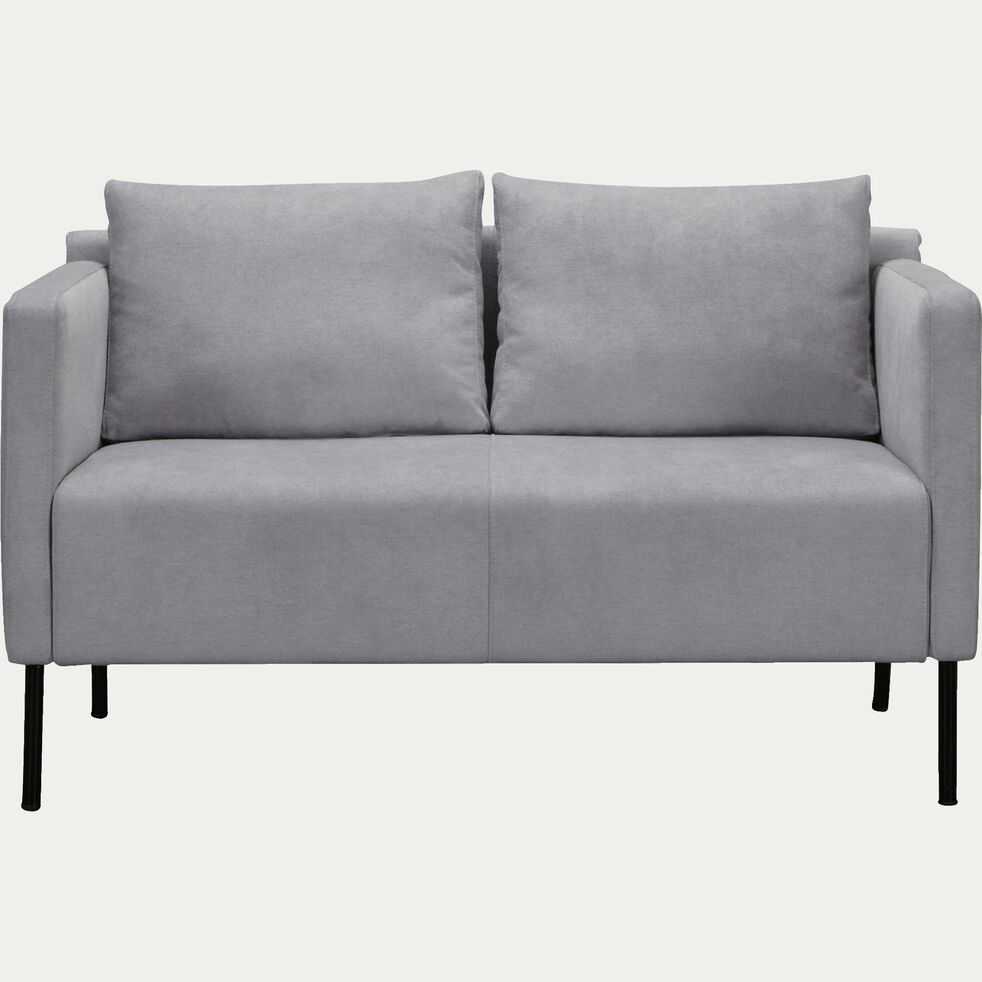 Canapé 2 places fixe en tissu - gris borie-OLIVIA