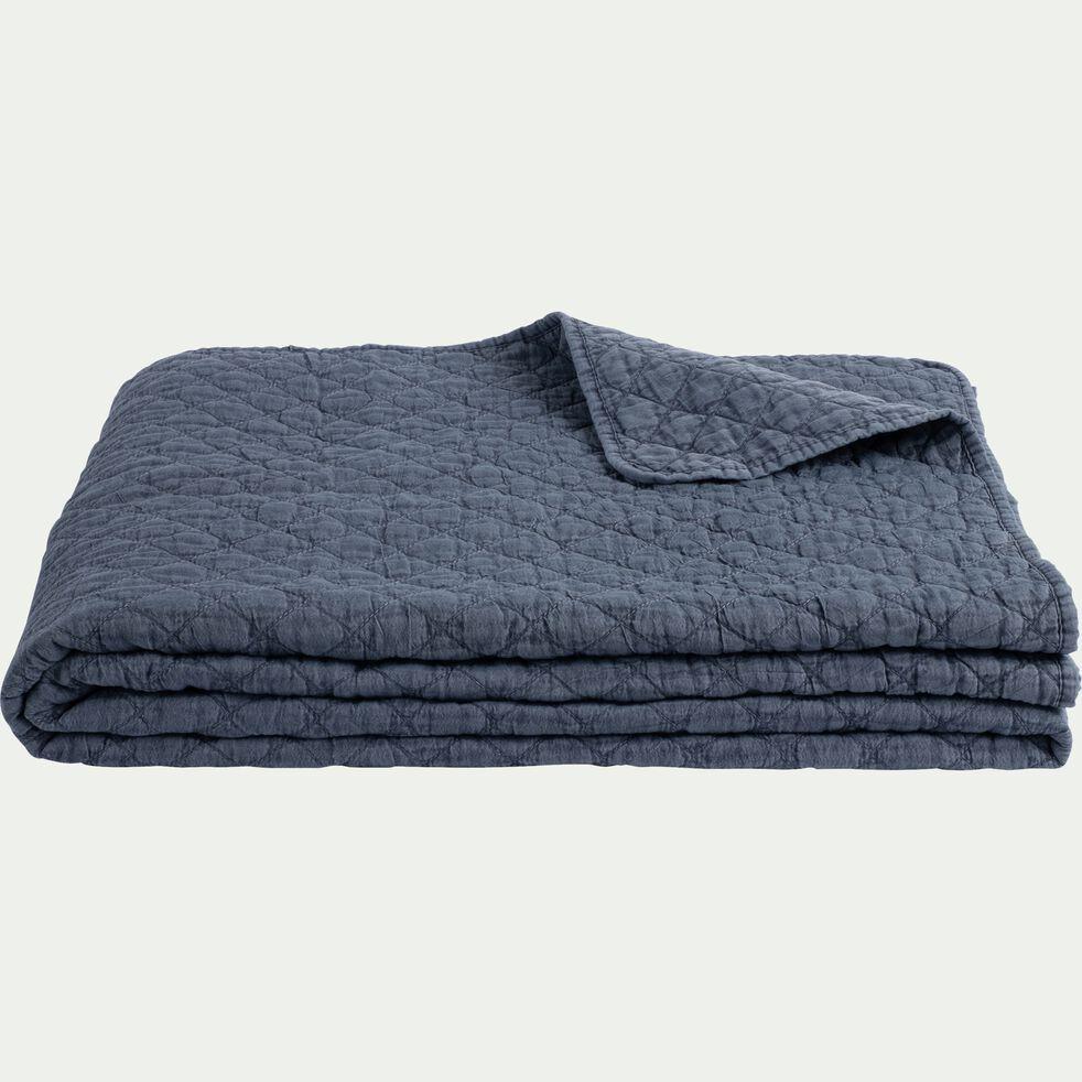 Couvre-lit effet lavé - bleu figuerolles 180x230cm-THYM