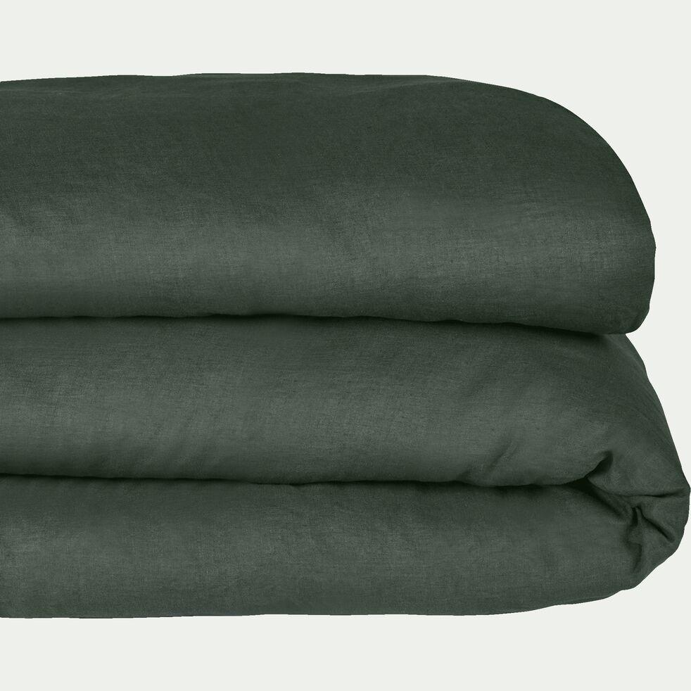 Housse de couette en lin - vert cèdre 260x240cm-VENCE
