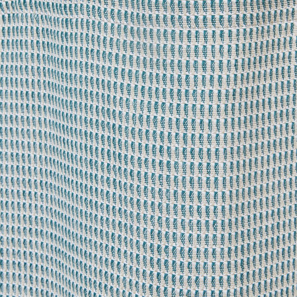 Rideau à œillets en coton texturé vert 140x250cm-MARONI