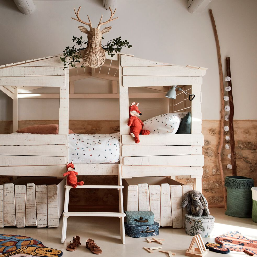 Lit cabane 1 place en pin massif 90x200 cm - blanc-Woody wood