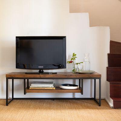 Meuble tv 2 plateaux effet bois et acier - marron 40x120x40cm-MANILLE