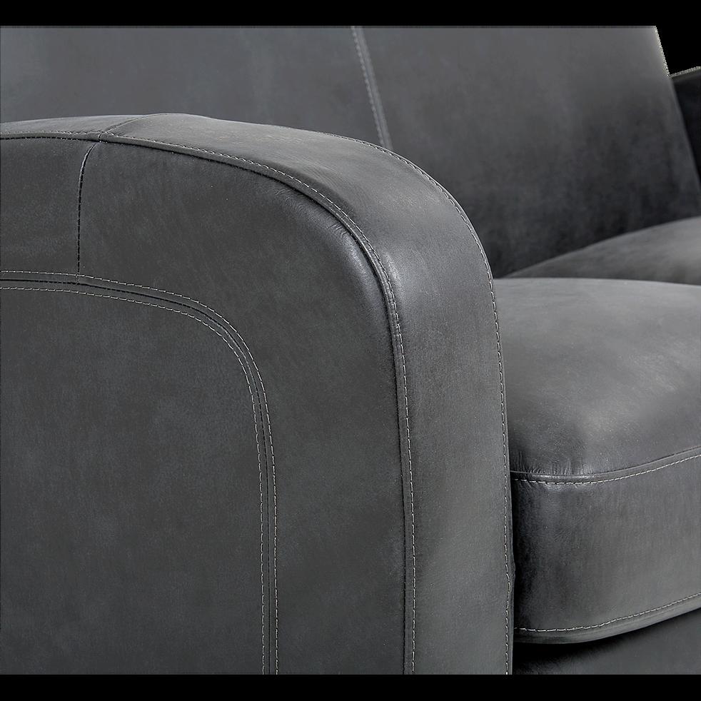 Canapé convertible 3 places en croûte de cuir noir-CUBA