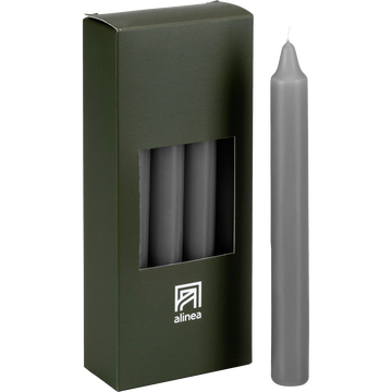 8 bougies flambeaux gris restanque H18cm-HALBA