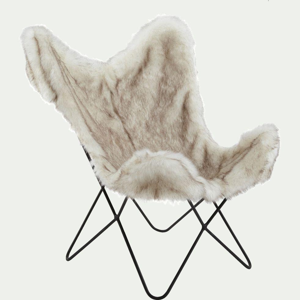Housse de fauteuil butterfly fourrure synthétique blanche - structure non incluse-BUTTERFLY