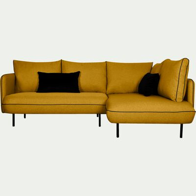 Canapé d'angle fixe droit - jaune nèfle-SAOU